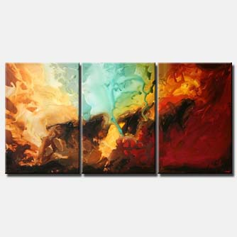 triptych modern abstract painting colorful
