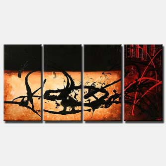 multi panel abstract black and red code