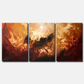 large abstract in red and gold triptych stardust