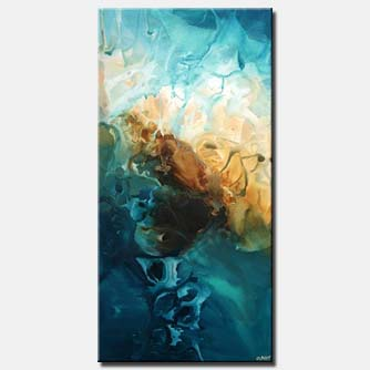 vertical blue modern painting wall decor