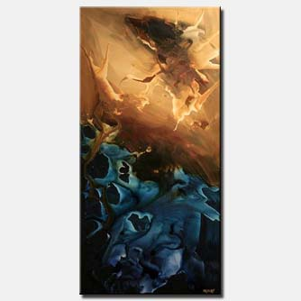 vertical blue and brown painting decor horizon