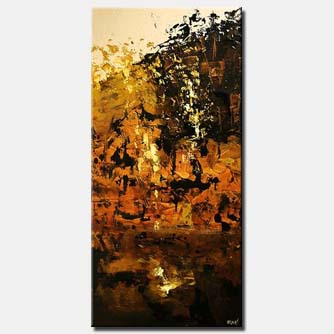 vertical abstract painting rusty orange city