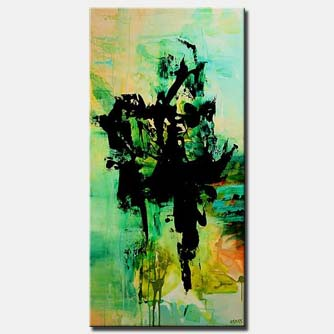 green and black vertical modern painting