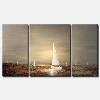 white sail boats on triptych canvas landscape