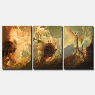 triptych abstract painting in brown sand color