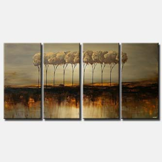 multi panel canvas painting of trees in row
