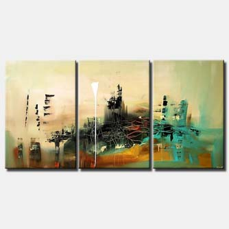 triptych modern painting in green and brown