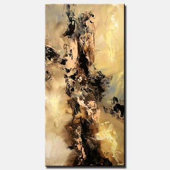 vertical modern painting brown and beige
