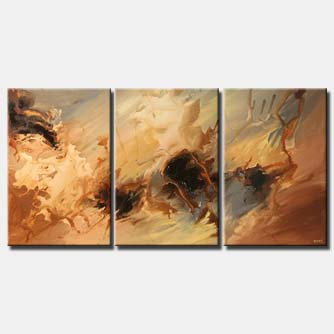 triptych abstract contemporary painting earth tones