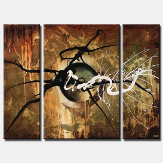 triptych contemporary abstract art splash