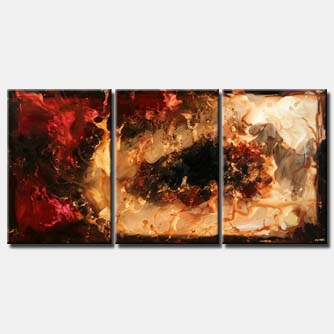 large triptych in red brown and sand colors