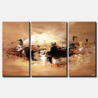 triptych abstract painting in brown and sand colors