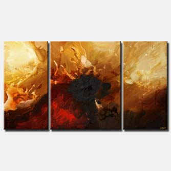 red and gold abstract in three panels triptych