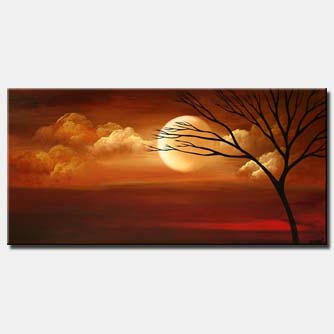 moon painting tree landscape home decor