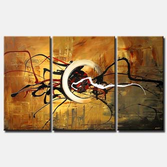 triptych canvas modern art decor circle splash
