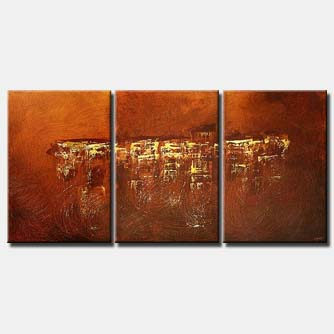 triptych abstract canvas in rusty orange colors