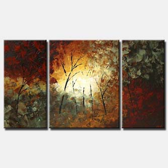 dense forest and sunshine abstract painting