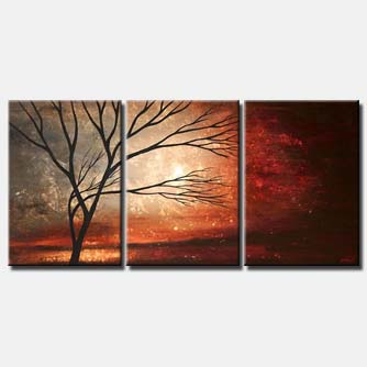 crimson sunrise abstract painting home decor triptych