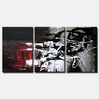 black white and red abstract painting triptych