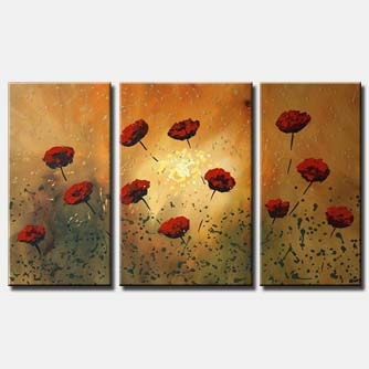 red poppy flowers on rusty background