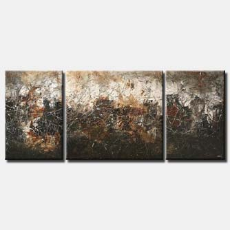 triptych abstract painting in dark colors gray
