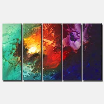 bold colorful multi panel abstract of undefined shapes