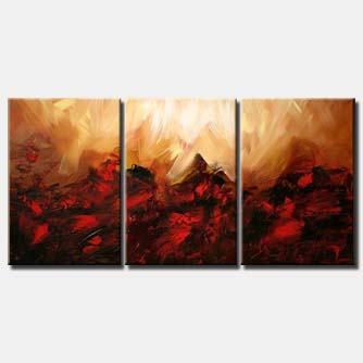 triptych abstract painting in red and rusty orange colors