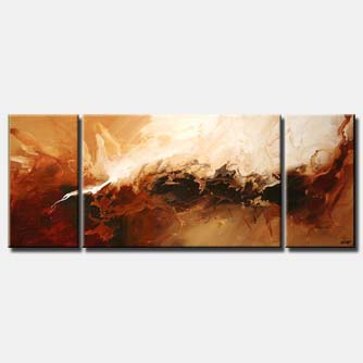 triptych abstract painting in brown and rusty orange colors