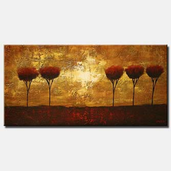horizontal abstract painting of 5 trees in a row
