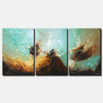 deep ocean abstract painting triptych blue soft