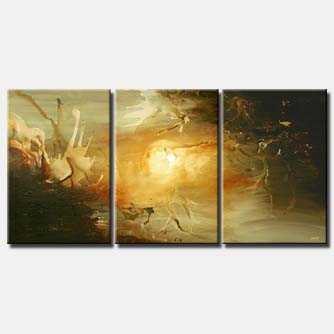 the day of creation abstract art triptych home decor