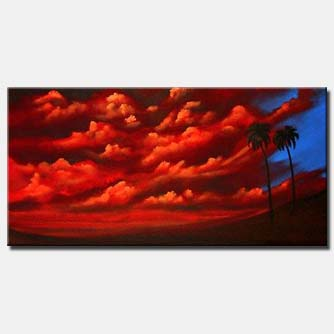 abstract palm trees and red clouds