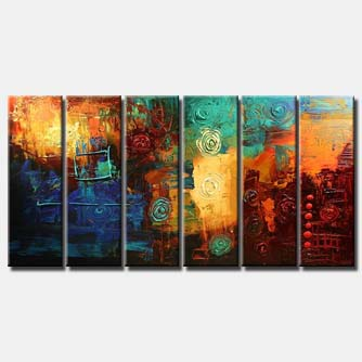large contemporary art colorful multi panel