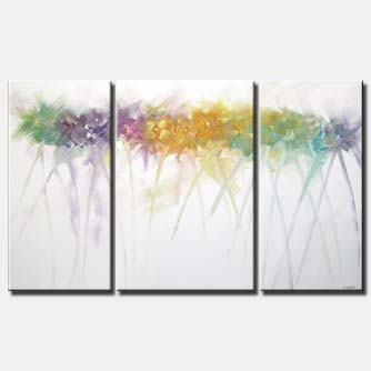 colorful scent abstract floral minimal triptych