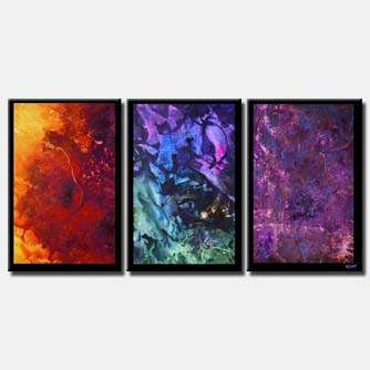 three colorful canvases border triptych planets