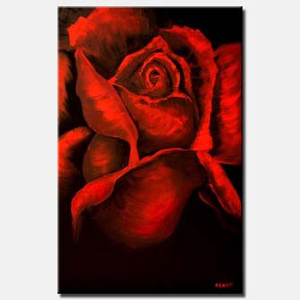 red rose on black background large art