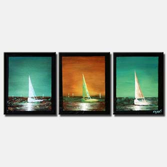 sailboats turquoise textured painting border sea