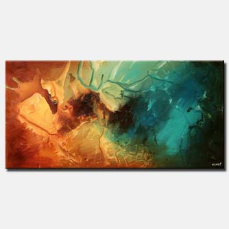 turquoise and rusty orange large painting
