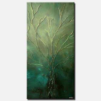 tree of life green painting home decor vertical