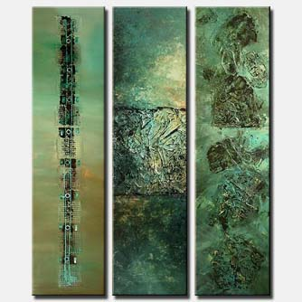 heavy textured large abstract vertical green triptych