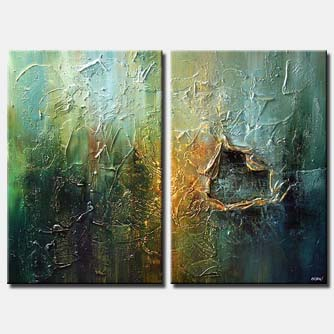 heavy textured painting diptych home decor