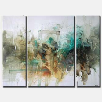 triptych modern decor painting white background