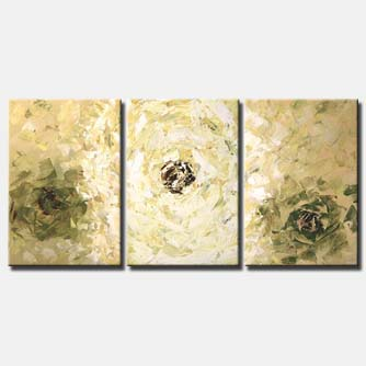 modern floral painting triptych minimal flowers
