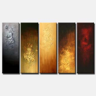 textured abstract painting multi panel colorful