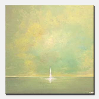 small sail boat in the ocean home decor