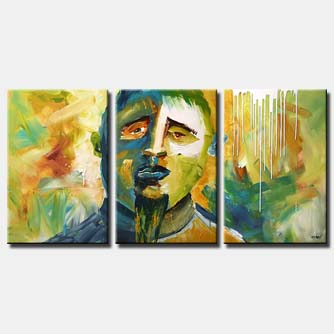 historic figure on triptych canvas colorful