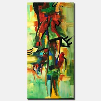 vertical green abstract painting colorful