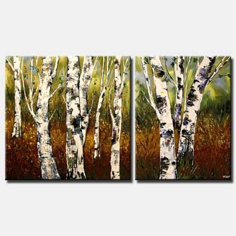 textured palette knife birch trees forest
