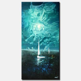 sail boat and sunset blue vertical large decor