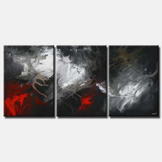 triptych in black and red dark light home decor